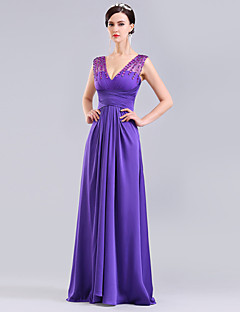 Formal Evening Dress - Ruby / Lilac Ball Gown V-neck Floor-length Tulle / Charmeuse / Knit