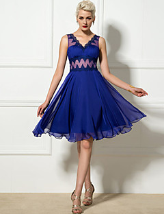 Vestido de Madrinha - Azul Real Linha-A Decote em V Coquetel Chiffon