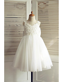 A-line Knee-length Flower Girl Dress - Lace / Tulle Sleeveless V-neck with
