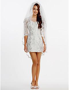 시스 / 칼럼 웨딩 드레스 숏 / 미니 보트넥 레이스 / 튤 와 레이스