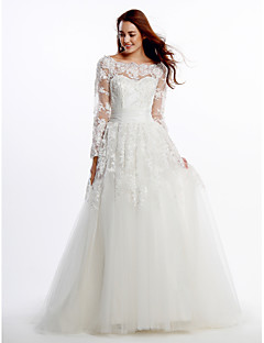 LAN TING BRIDE A-line Wedding Dress See-Through Court Train Scoop Lace Tulle with Appliques Lace