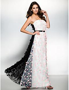ts couture® noche formal del vestido de una línea sin tirantes de tul largo hasta los tobillos con la flor (s)