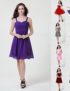 Knee length Burgundy Royal Blue  Ivory Silver Black  Sage Jade Pink Chiffon Bridesmaid Dress A-line