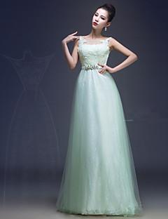 Floor-length Lace / Satin / Tulle Bridesmaid Dress - Sage Sheath/Column Scoop
