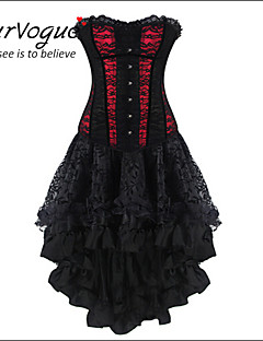 Burvogue Women's Gothic Halloween Lace up Corset Moulin Rouge Dress Clubwear Showgirl Costume