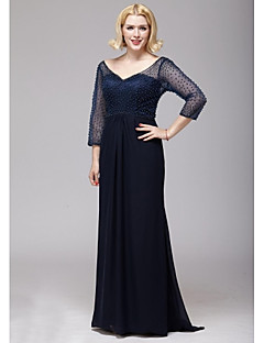A-line Mother of the Bride Dress - Dark Navy Floor-length Chiffon