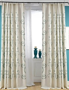 (Two Panels)Beige Cloud Embroidered Linen/Cotton Blend Curtain(Sheer Not Included)