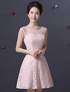 Knee-length Lace Bridesmaid Dress - Blushing Pink Spaghetti Straps