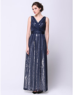 Formal Evening Dress - Dark Navy A-line V-neck Ankle-length Chiffon