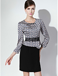 Sheath/Column Mother of the Bride Dress - Print Short/Mini 3/4 Length Sleeve Polyester
