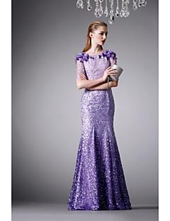 Formeller Abend Kleid - Lila Satin / Seide - Meerjungfrau-Linie / Mermaid-Stil - bodenlang - Juwel-Ausschnitt
