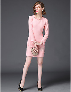 Sheath/Column Mother of the Bride Dress - Pearl Pink / Black Short/Mini Long Sleeve Polyester