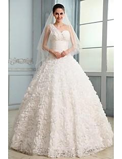 웨딩 드레스 - 화이트 볼 가운 쿼트 트레인 원 숄더 레이스