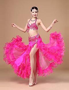 Göbek Dansı Kıyafetler Kadın's Performans Polyester Fırfırlı Kuşak/kurdele 3 Parça Kolsuz Düşük Top Etek Kemer