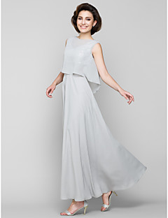 Lanting A-line Mother of the Bride Dress - Silver Ankle-length Sleeveless Chiffon