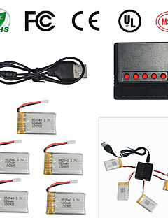 X5SW X5SC 5 in 1 3.7v Quadcopter Charger and 5 680mAh Battery for X5SW X5SC X5C CX30W CX30S H5C M68