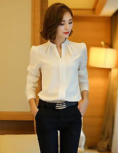 Women's Solid White Blouse , Stand Long Sleeve