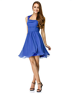 TS Couture® Cocktail Party Dress - Royal Blue A-line Square Short/Mini Chiffon