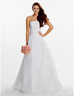 A-line Wedding Dress - Ivory Court Train Strapless Organza