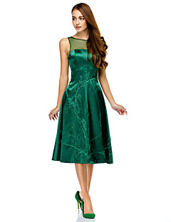 TS Couture® Cocktail Party Dress - Dark Green A-line Scoop Knee-length Charmeuse