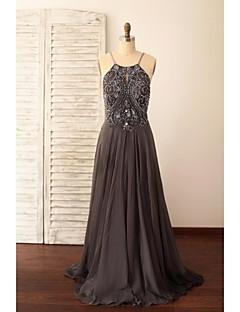 aラインスパゲッティストラップスイープ/ブラシトレインシフォンフォーマルイブニングドレス