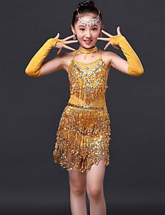 Latin Dance Dress / Children's Performance Fashion Polyester Rhinestones / Tassel Dress 4 Pieces
