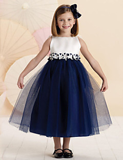 A-line Tea-length Flower Girl Dress - Tulle / Polyester Sleeveless
