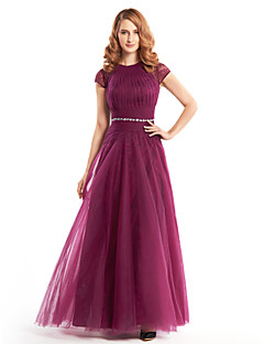 A-line Mother of the Bride Dress - Fuchsia Ankle-length Short Sleeve Lace / Tulle