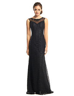 TS Couture Prom Formal Evening Dress - See Through Trumpet / Mermaid Scoop Floor-length Tulle Sequined with Beading Sequins