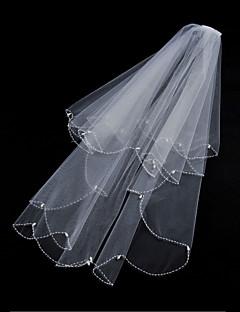 Wedding Veil Two-tier Fingertip Veils Beaded Edge / Scalloped Edge Tulle White / Ivory