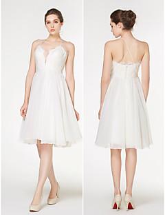 lanting - A 라인 웨딩 드레스 - 아이보리 무릎 길이의 연인 쉬폰 / 레이스