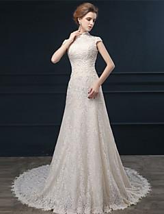 웨딩 드레스 - 샴페인 A 라인 쿼트 트레인 하이넥 레이스