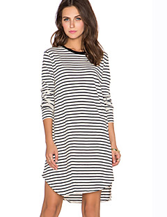 Women's Casual Striped Loose Dress , Round Neck Above Knee Cotton / Acrylic
