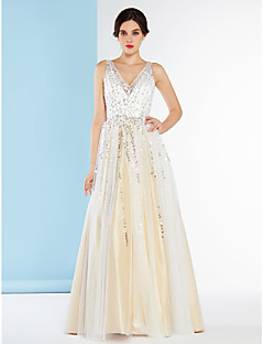 Lanting Bride® A-line Wedding Dress Floor-length V-neck Tulle with Sequin