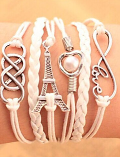 Men's Women's Chain Bracelet Wrap Bracelet Heart Handmade Multi Layer Fashion Leather Alloy Heart Tower Love Infinity Jewelry For Party