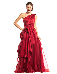 Formal Evening Dress A-line One Shoulder Floor-length Organza / Satin with Side Draping