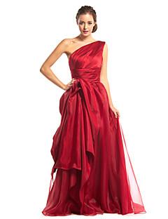 TS couture® 공식적인 저녁은 줄을 측면 입체 재단과 어깨 하나 바닥 길이 오간자 / 새틴 드레스