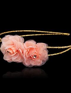Dame / Blomsterpige Rhinsten / Organza / Silke Medaljon Bryllup / Speciel Lejlighed / Udendørs PandebåndBryllup / Speciel Lejlighed /
