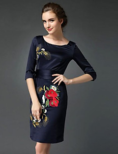 Women's Formal / Work / Plus Size Chinoiserie Sheath Dress,Embroidered Round Neck Above Knee ¾ Sleeve Blue Polyester Spring / FallMid