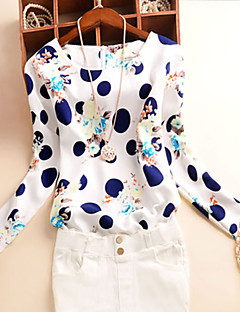 Women's Print Blue  White Blouse , Round Neck Long Sleeve