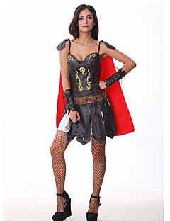 Roman & Greek Warrior Brown PU Leather Women's Halloween Costumefor Carnival