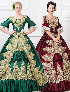 steampunk®wine röd / grön långa ärmar spets-up princess symposium victorian kungliga vintage långa balklänningar