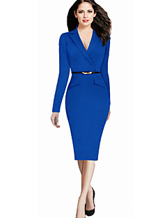 Women's Work Bodycon Dress,Solid V Neck Knee-length Long Sleeve Blue / Black Cotton / Polyester / Spandex Spring