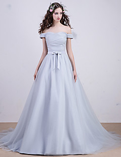 Cocktail Party / Formal Evening Dress - Silver A-line Bateau Court Train Tulle
