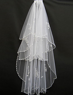 Two-tier - Beaded Edge - Mantilla - Blusher Veils / Fingertip Veils ( White / Ivory , Bead )