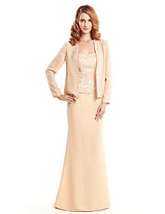 Lanting Bride® Trumpet / Mermaid Mother of the Bride Dress Floor-length Long Sleeve Chiffon with Lace