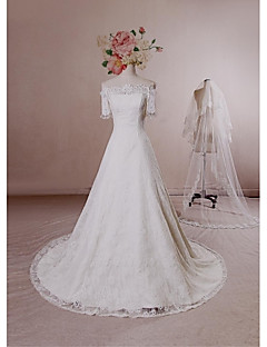 A-line Wedding Dress - Ivory Chapel Train Bateau Lace / Satin / Tulle