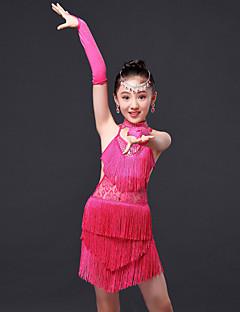 בגדי ריקוד ילדים - שמלות - לטיני / ביצוע ( פוקסיה / אדום / כחול רויאל , פוליאסטר , קריסטלים / rhinestones / גדיל (ים) )