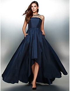 Formal Evening Dress A-line Jewel Asymmetrical Taffeta