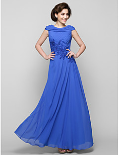 A-line Mother of the Bride Dress Ankle-length Sleeveless Chiffon with Appliques / Criss Cross